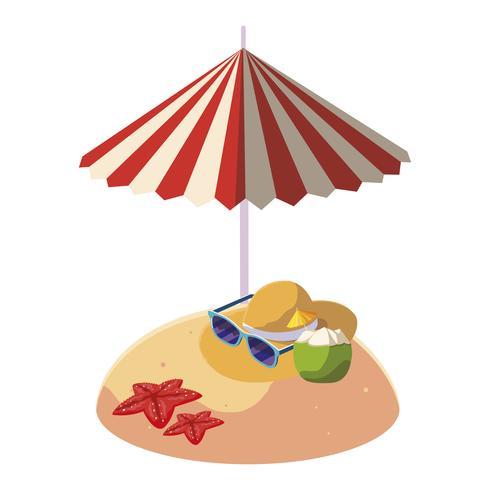 sommarsandstrand med paraply och stråhatt vektor