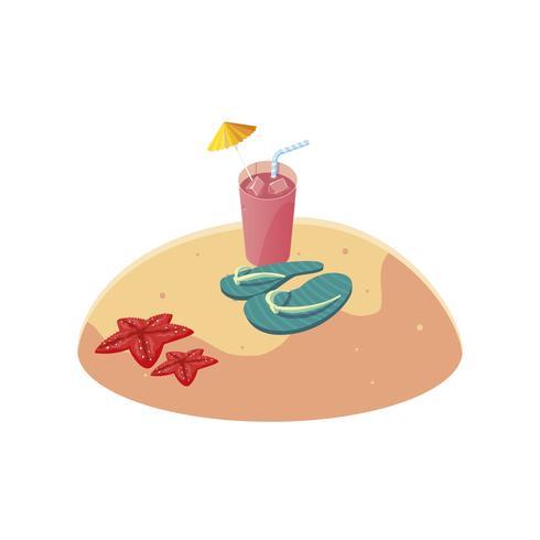 Sommersandstrand mit Flip Flops Szene vektor