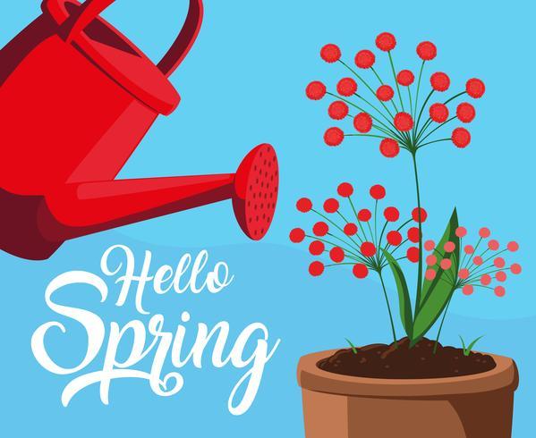 hej vårkort med röda blommor och sprinklerplast vektor