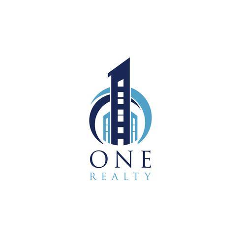 Blaues Nummer Eins Gebäude Logo vektor