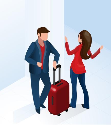 Frauen-Empfangsdame Welcome Tourist mit Koffer vektor