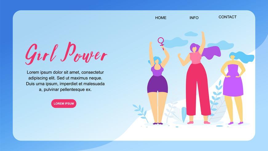 Girl Power Horizontal Banner mit Textfreiraum. vektor