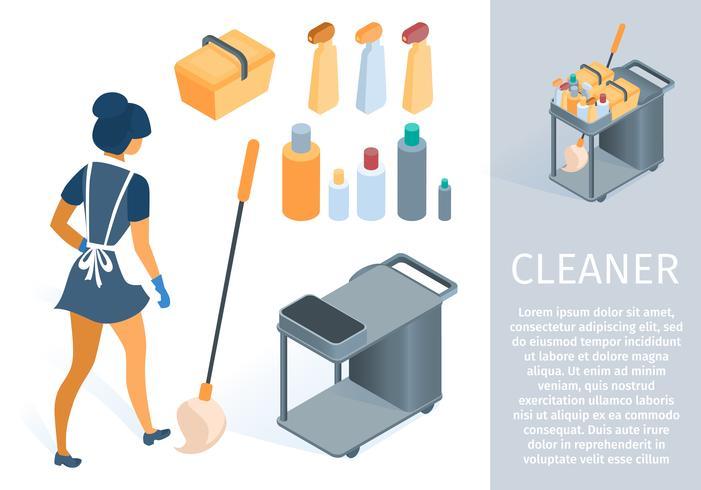 Dienstmädchen in Uniform mit Reinigungswagen Cartoon vektor