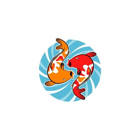 Koi Fisch mit Whirlpool vektor