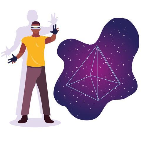 Design av människan med hjälp av teknik för förstärkt verklighet vektor