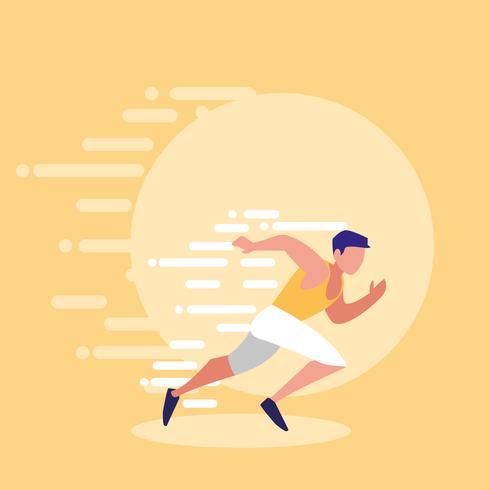 man atlet kör avatar vektor