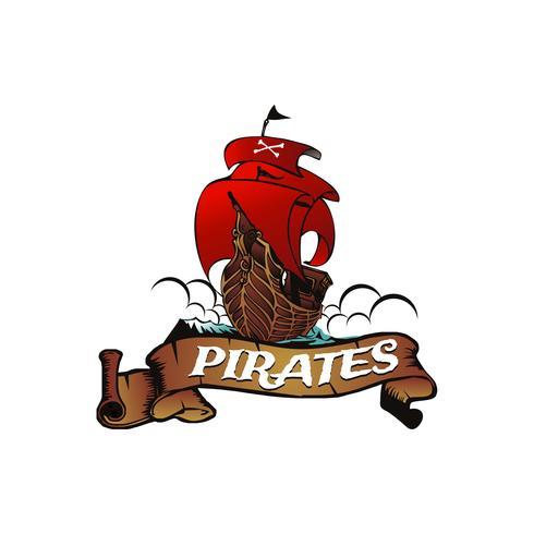 Piratfartyg med banderoll vektor