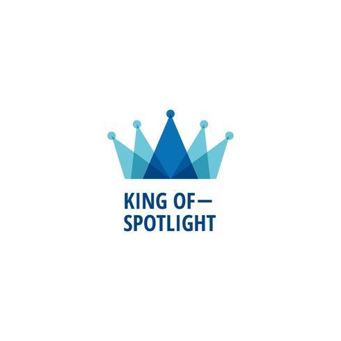 skiktad blå kung krona logotyp vektor