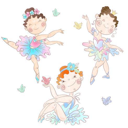 Set süße Ballerinas mit Schmetterlingen vektor