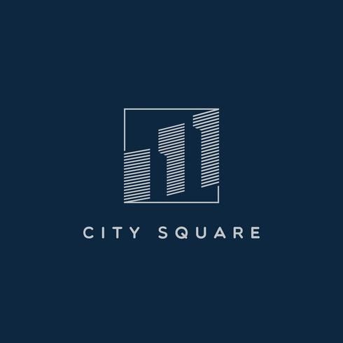 Quadratische Linie Art City Logo Sign Symbol-Symbol vektor