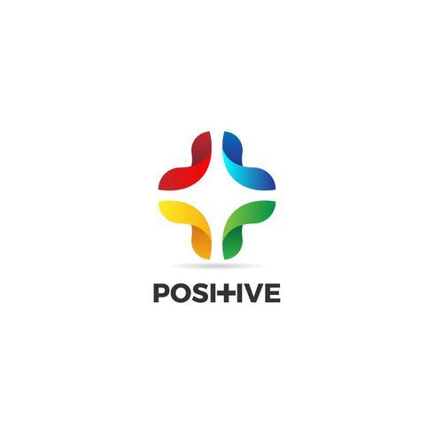 Färgglada positiva tecken logotyp vektor