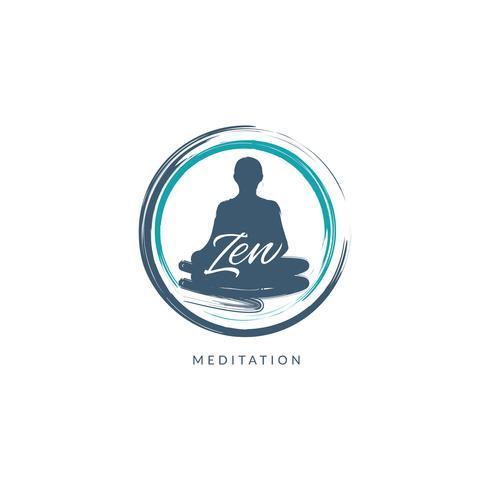 Meditation Logo Mit Pinselstrichen vektor