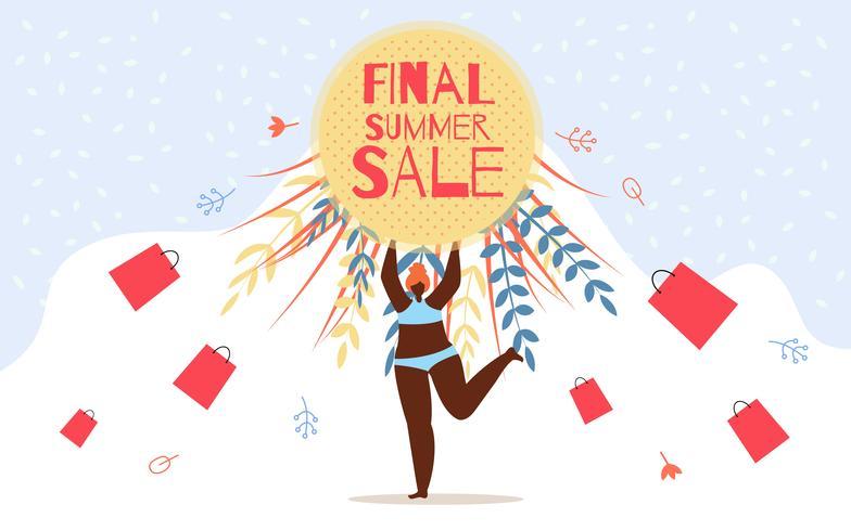 Reklamblad reklamen Inskription Final Summer Sale vektor