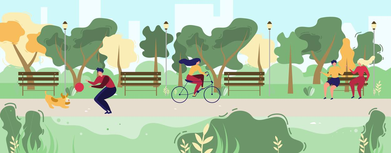 Karikatur-Leute, die in flachen städtischen allgemeinen Park gehen vektor