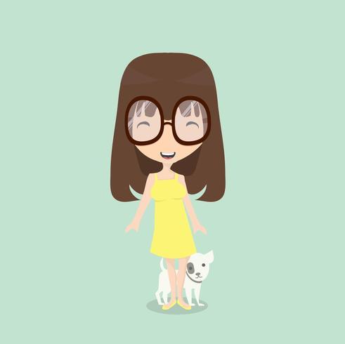 liten flicka med hund vektor