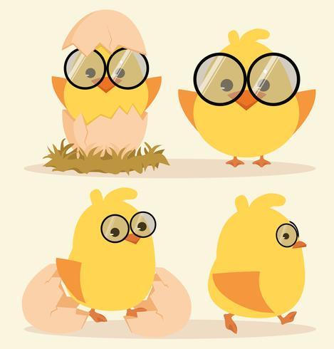 Tecknad gullig chickuppsättning vektor