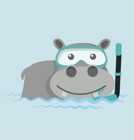 Flodhäst som snorklar i vatten vektor