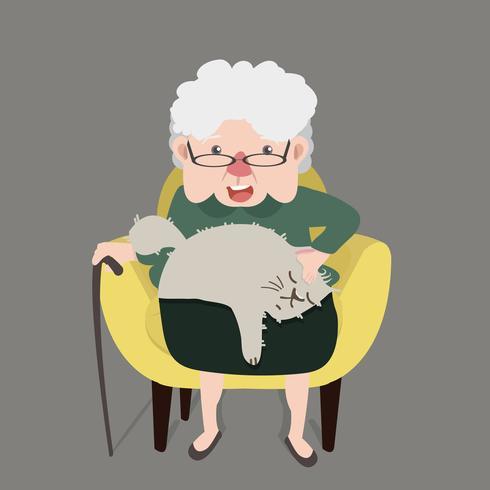 Glückliche Großmutter, die gelben modernen Stuhl mit Katze sitzt vektor