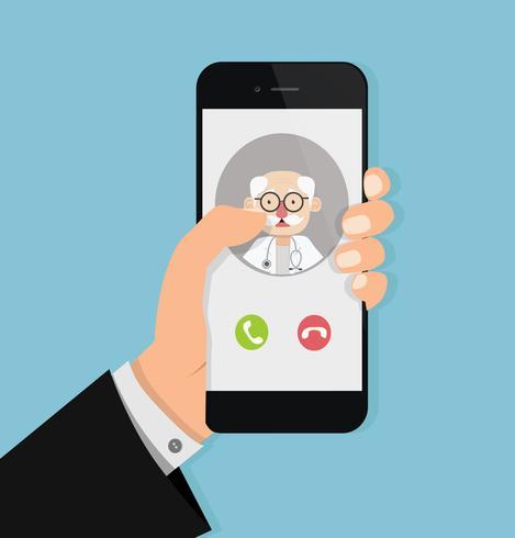 Hand, die Smartphone mit altem Doktor beim Anruf hält vektor