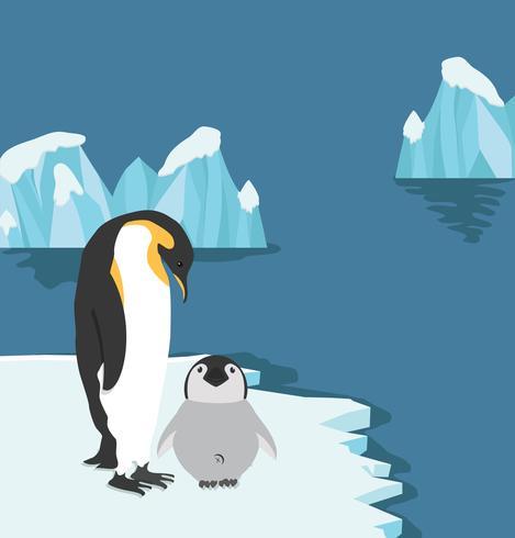 Kejsarpingviner med fågeln på isflak vektor