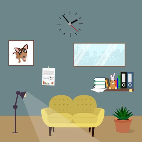kontorsrum inredning med gul soffa i platt design vektor