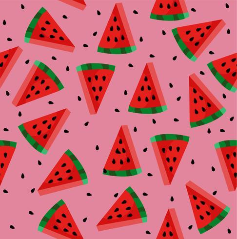 Vattenmelon med frönsmönster vektor