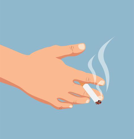 hand med cigarett vektor
