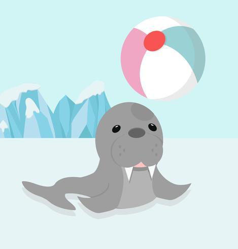 niedlicher sealion Cartoon genießen mit Lächelnball vektor