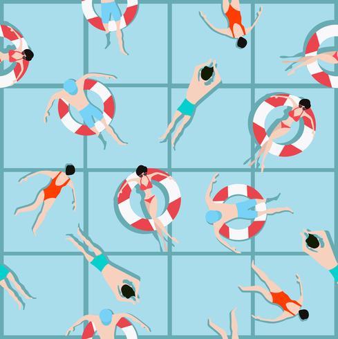 Folk som simmar mönster och sommarbakgrund vektor