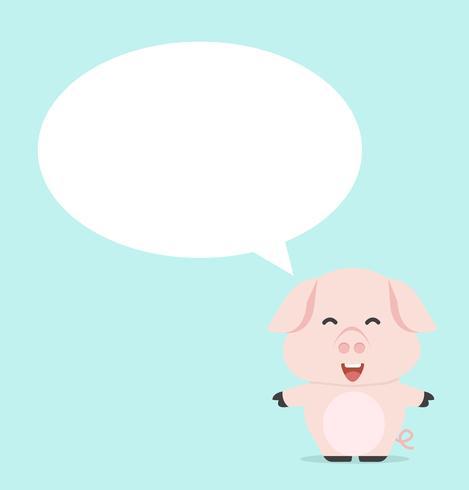 kleines Baby Schwein denken Vektor