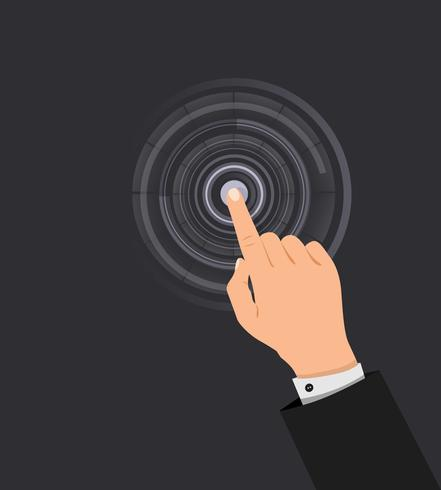 handen trycker på knappen vektor