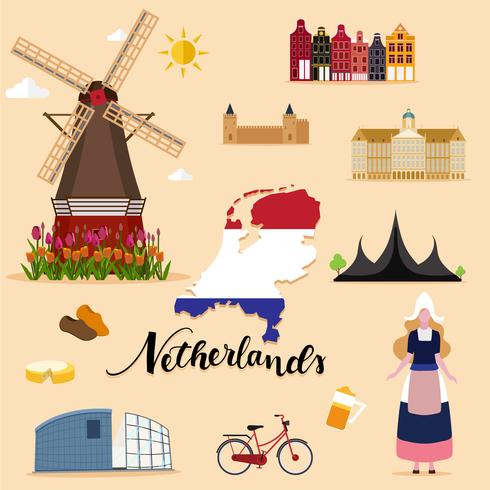 Touristische Niederlande Travel Set Sammlung vektor