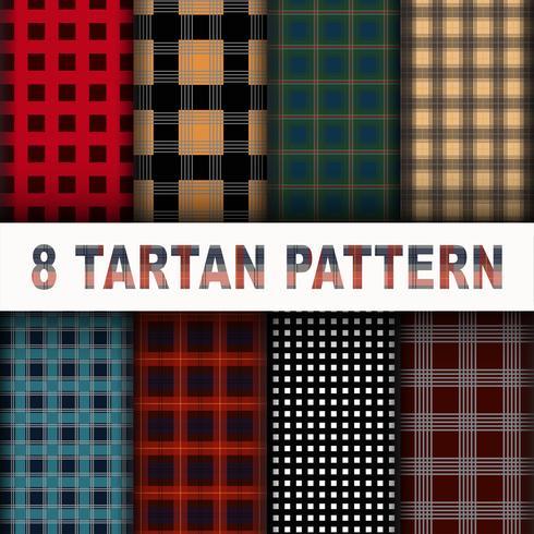 8 Tartan-Muster-Hintergrund-gesetzte Sammlung vektor