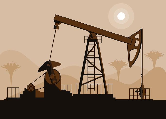 Ölindustrieszene mit Derrick vektor