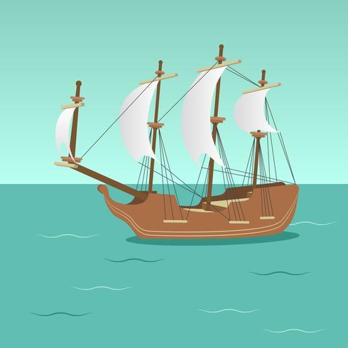 Träfartyg med segel vektor