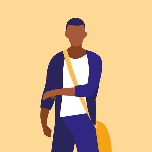 männlicher professioneller vorbildlicher schwarzer charakter vektor