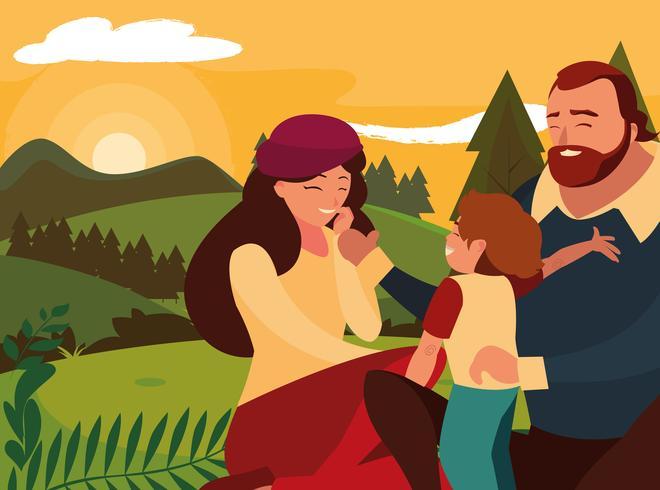 föräldrar med barnfamilj i daglandskap vektor