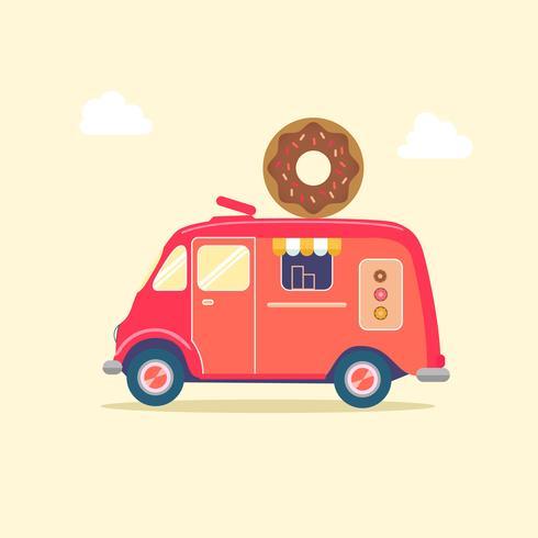 röd donut mat skåpbil vektor