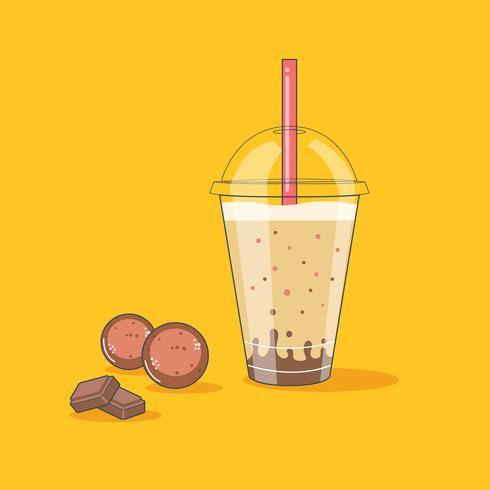 Choklad och söt Milkshake i en slurkflaska vektor