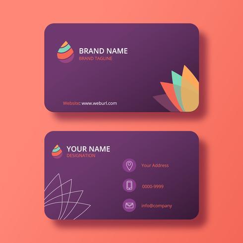 Purpurfärgat modernt elegant visitkort med färgglad logotyp vektor