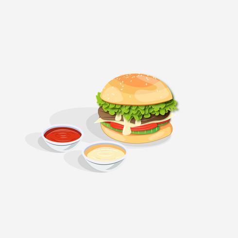 Realistisk dubbel hamburgare med ost- och ketchup-doppningar vektor