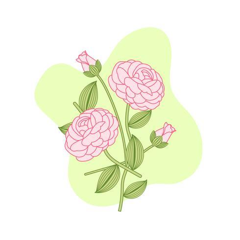 Bukett med rosa rosor för dekoration med knoppar vektor