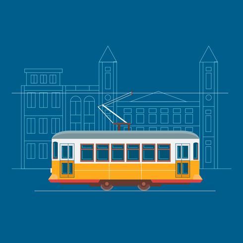 Retro Lissabon Tram bewegt sich durch die Straße vektor