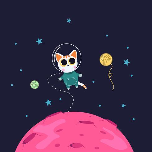 Söt katttecken som svävar i rymden. vektor
