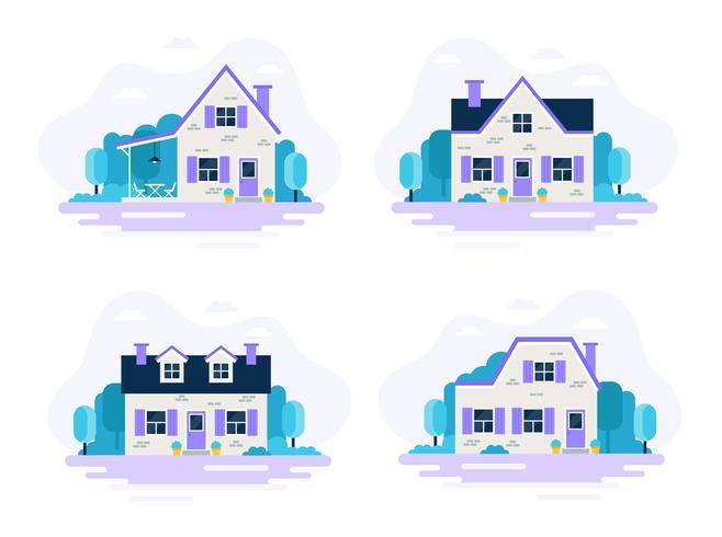 Uppsättning av 4 hus med trädgårdar. vektor