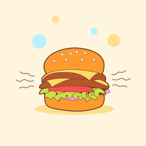 Cartoon Hamburger in einem spielerischen Hintergrund vektor