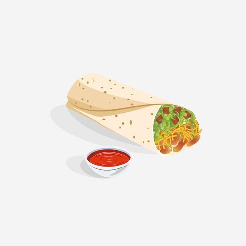 Mexikanischer Burrito gefüllt mit gegrilltem Huhn und Gemüse vektor