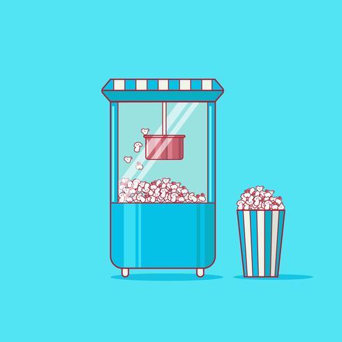 Mini Popcorn Machine och en badkar Popcorn vektor