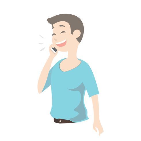 Ung gullig man som talar i smart telefon och ler lycklig pojke. vektor