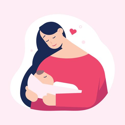 Mutter hält süßes Baby. Schönen Muttertag. vektor